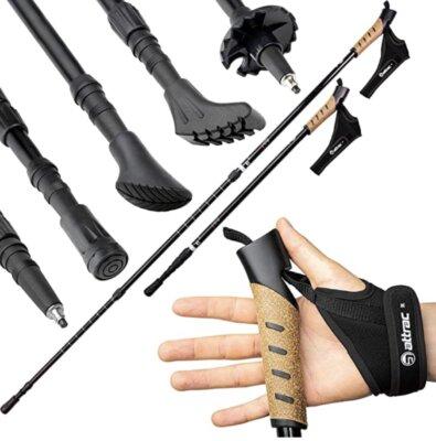 Attrac - Migliori bastoncini da nordic walking per guantini morbidi e ultraleggeri con chiusura in velcro