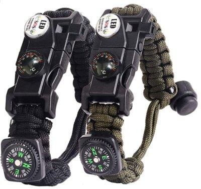 AuRiver - Migliore bussola da trekking su braccialetto di sopravvivenza