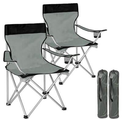 Bakaji - Migliore sedia pieghevole da campeggio in set da 2 con sistema a fisarmonica
