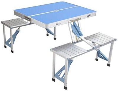 BRIGROS - Migliore tavolino pieghevole da campeggio spazioso per 4 persone