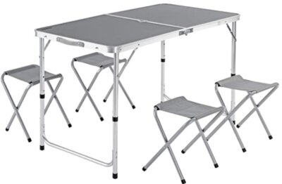 Casaria - Migliore tavolino pieghevole da campeggio per quattro sgabelli pieghevoli