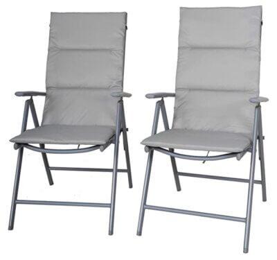 Chicreat - Migliore sedia pieghevole da campeggio in set da 2 con schienale regolabile