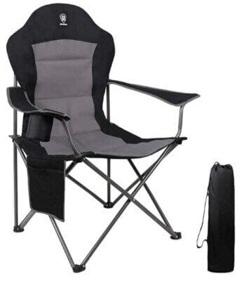 Ever Advanced- Migliore sedia pieghevole da campeggio per bracciolo imbottito, portabicchiere e organizer