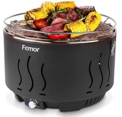 Femor - Migliore barbecue senza fumo per involucro della griglia a carbone che non si surriscalda
