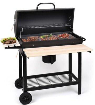 OneConcept - Migliore barbecue americano in legno con grande ripiano frontale