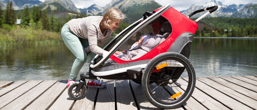 rimorchio bici per bambini passeggino