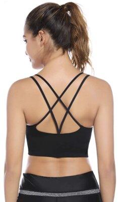 Sykooria - Migliore reggiseno sportivo da fitness per doppie spalline elastiche incrociate