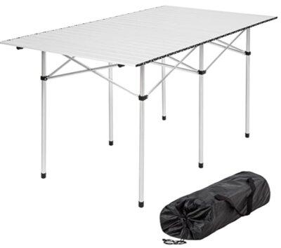TecTake - Migliore tavolino pieghevole da campeggio per superficie in listelle di alluminio