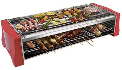 Tonze - Migliore piastra barbecue elettrico doppia griglia di colore rosso