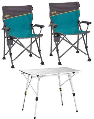 Uquip - Migliore sedia pieghevole da campeggio in set con 2 sedie e tavolo