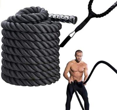 Zelus - Migliore corda battle rope per rivestimento in gomma addensata